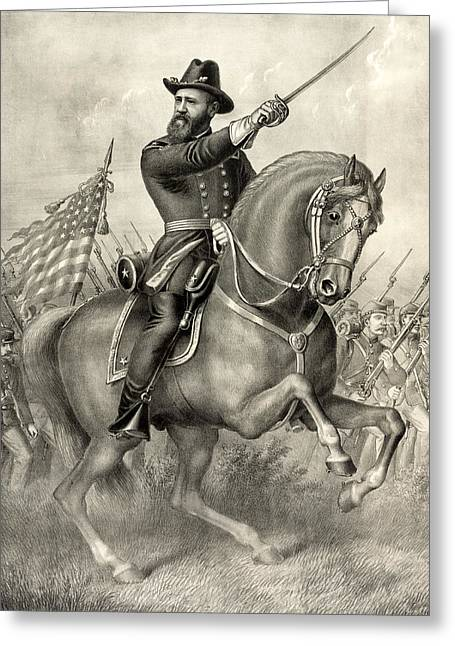 American Politician Greeting Cards - General - later President - Benjamin Harrison at the Battle of Resaca - c 1864 Greeting Card by International  Images