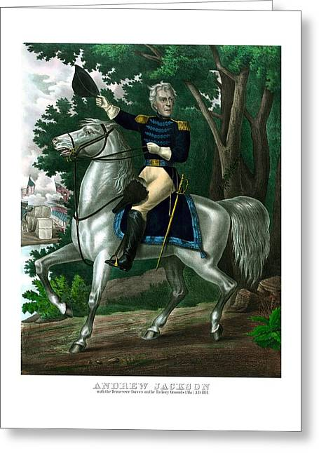 Andrews Greeting Cards - General Andrew Jackson On Horseback Greeting Card by War Is Hell Store