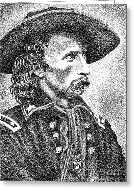 Pen And Ink Drawings For Sale Drawings Greeting Cards - General Custer Greeting Card by Gordon Punt