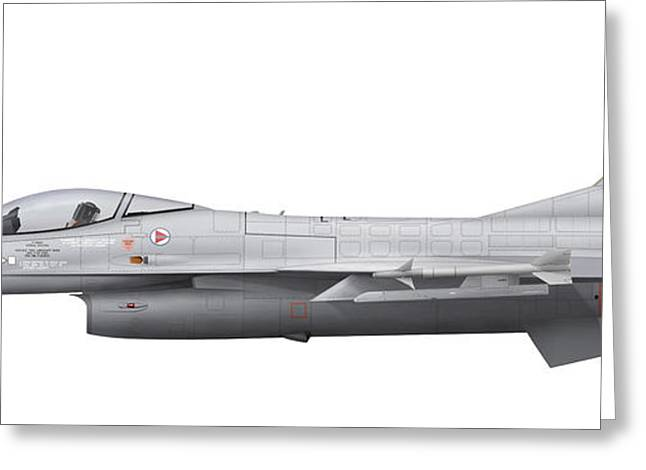 General Dynamics F-16a Fighting Falcon Greeting Card by Chris Sandham-Bailey