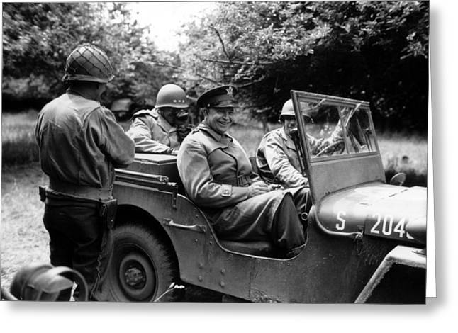 Wwii Photographs Greeting Cards - General Eisenhower In A Jeep Greeting Card by War Is Hell Store