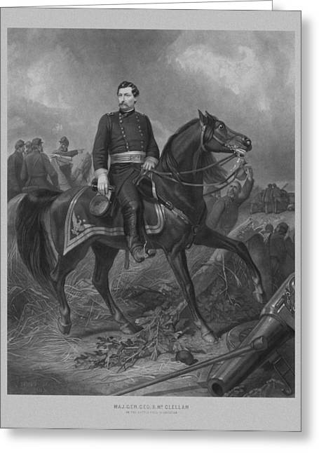 The North Greeting Cards - General George McClellan On Horseback Greeting Card by War Is Hell Store