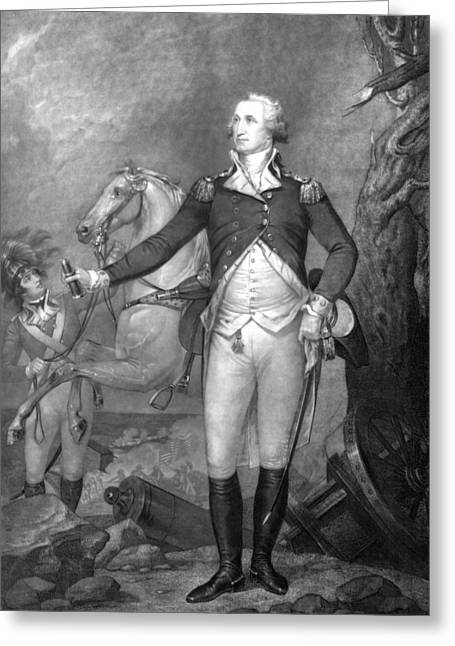 Revolutionary War Drawings Greeting Cards - General George Washington at Trenton Greeting Card by War Is Hell Store