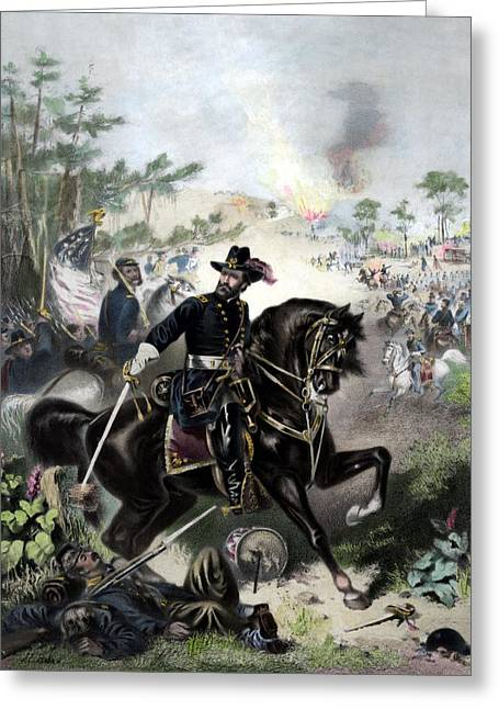 Troop Greeting Cards - General Grant During Battle Greeting Card by War Is Hell Store