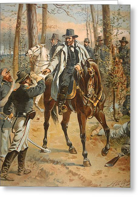 Man In The Wilderness Greeting Cards - General Grant in the Wilderness Campaign 5th May 1864 Greeting Card by Henry Alexander Ogden