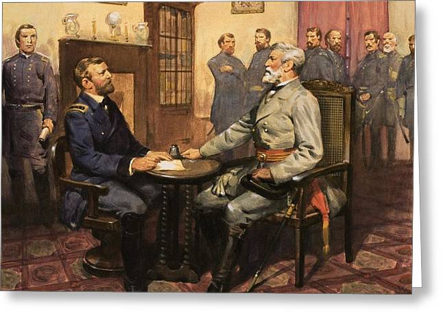 20th Paintings Greeting Cards - General Grant meets Robert E Lee  Greeting Card by English School