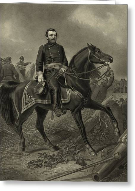American Civil War Drawings Greeting Cards - General Grant On Horseback  Greeting Card by War Is Hell Store