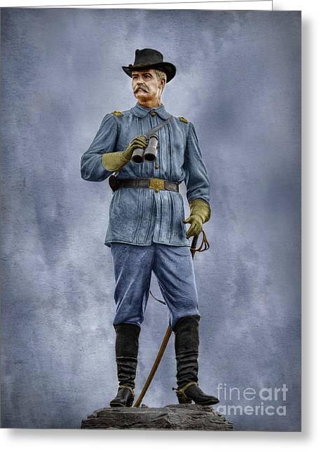 Confederate Monument Digital Art Greeting Cards - General John Buford at Gettysburg Greeting Card by Randy Steele
