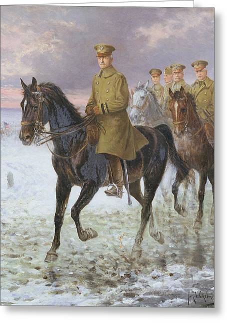Armed Forces Greeting Cards - General John J Pershing  Greeting Card by Jan van Chelminski