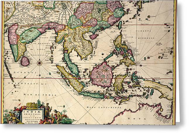 General Map Extending From India And Ceylon To Northwestern Australia By Way Of Southern Japan Greeting Card by Nicolaes Visscher Claes Jansz