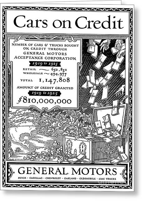 American Automobiles Greeting Cards - General Motors Ad, 1925 Greeting Card by Granger