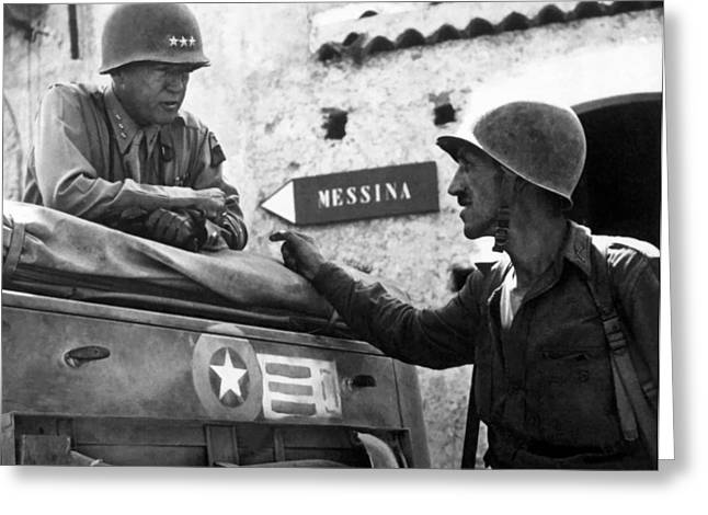 One Paintings Greeting Cards - General Patton In Sicily Greeting Card by War Is Hell Store