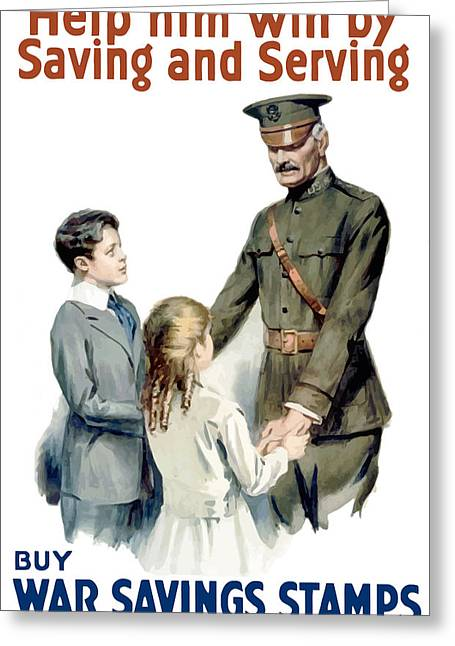 Buy Digital Art Greeting Cards - General Pershing Buy War Saving Stamps Greeting Card by War Is Hell Store