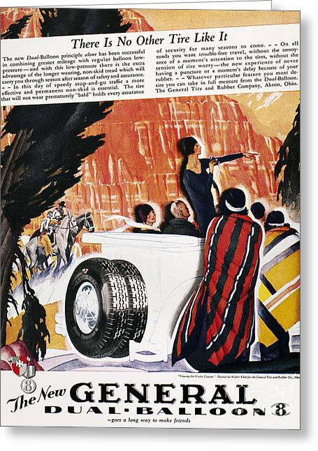 American Automobiles Greeting Cards - General Tires Ad, 1929 Greeting Card by Granger