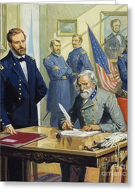 The General Lee Paintings Greeting Cards - General Ulysses Grant accepting the surrender of General Lee at Appomattox  Greeting Card by Severino Baraldi