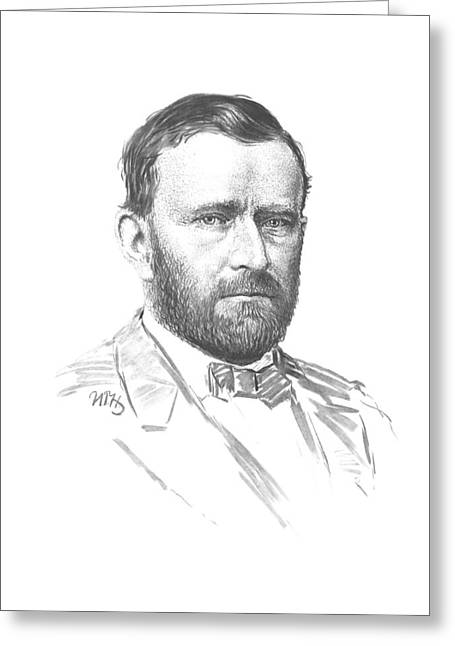 American Civil War Drawings Greeting Cards - General Ulysses Grant Greeting Card by War Is Hell Store