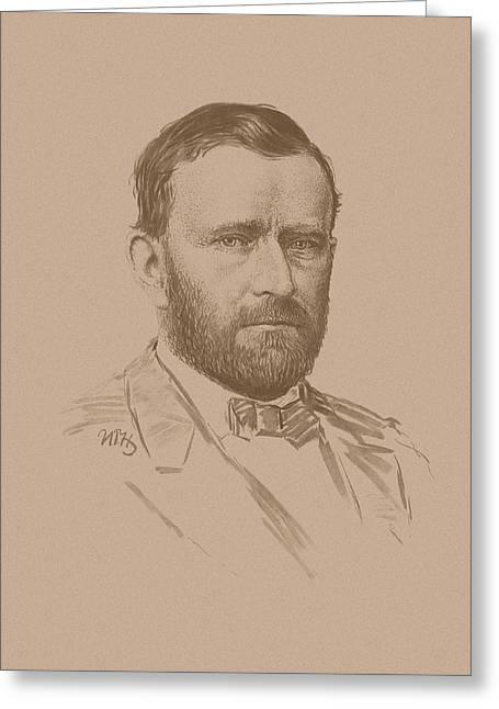 President Drawings Greeting Cards - General Ulysses S Grant Greeting Card by War Is Hell Store