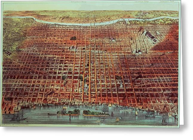 Phillies Greeting Cards - General View of Philadelphia Greeting Card by Currier and Ives