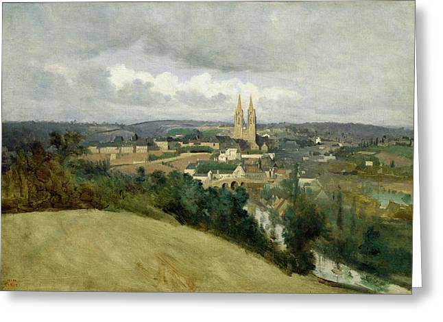 From Above Greeting Cards - General View of the Town of Saint Lo Greeting Card by Jean Corot