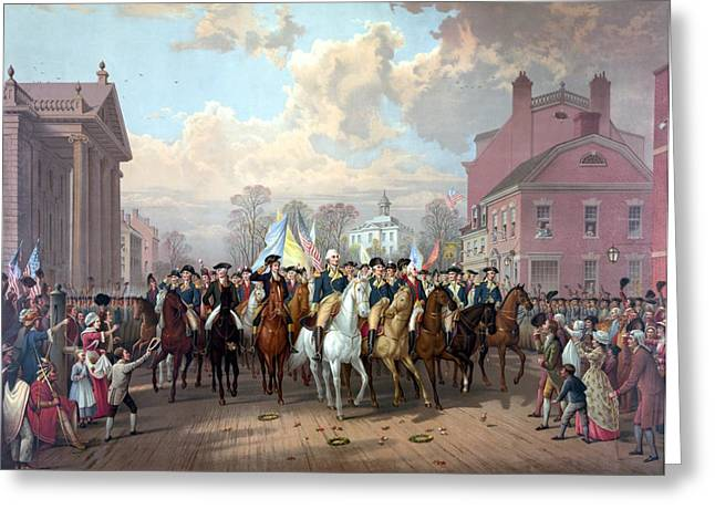 Revolutionary War Drawings Greeting Cards - General Washington Enters New York Greeting Card by War Is Hell Store