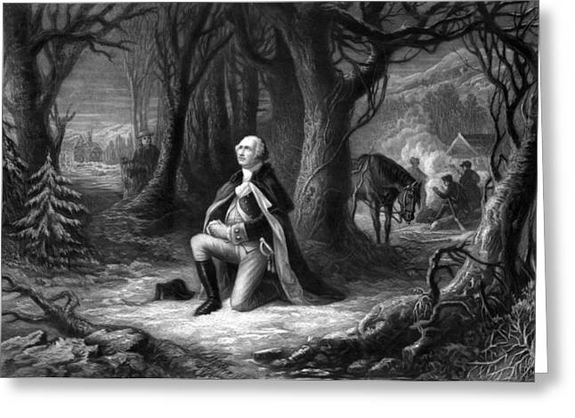 Revolutionary War Drawings Greeting Cards - General Washington Praying At Valley Forge Greeting Card by War Is Hell Store