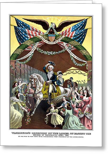 American Revolution Greeting Cards - General Washingtons Reception At Trenton Greeting Card by War Is Hell Store