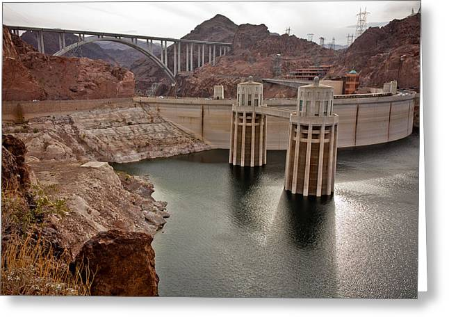 Famous Bridge Greeting Cards - Generators of Hoover Dam Greeting Card by Anthony Doudt