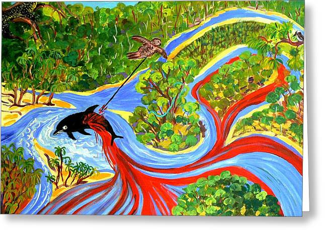 Goanna Greeting Cards - Genesis of Pimpama Island Gold Coast Queensland Greeting Card by Virginia McGowan