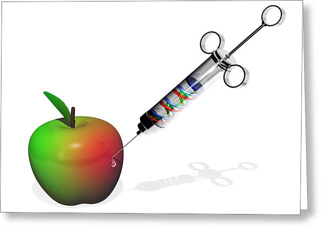 Food Scare Greeting Cards - Genetically Modified Apple Greeting Card by Laguna Design