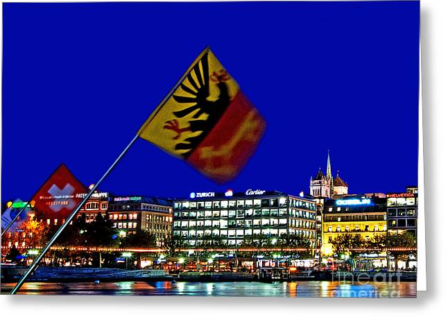 Geneva Switzerland in the Evening Greeting Card by Chris Smith