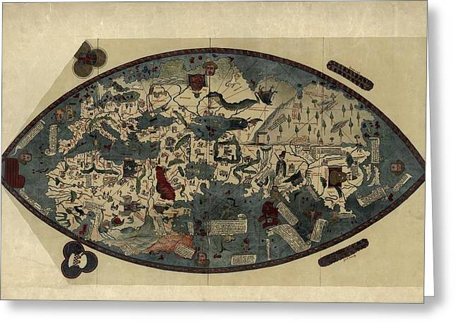 European Artwork Greeting Cards - Genoese World Map, 1450 Greeting Card by Library Of Congress, Geography And Map Division