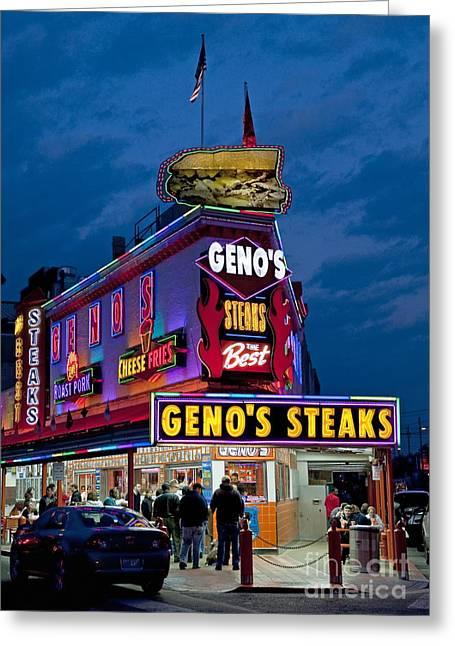 South Philadelphia Greeting Cards - Genos Steaks Greeting Card by John Greim