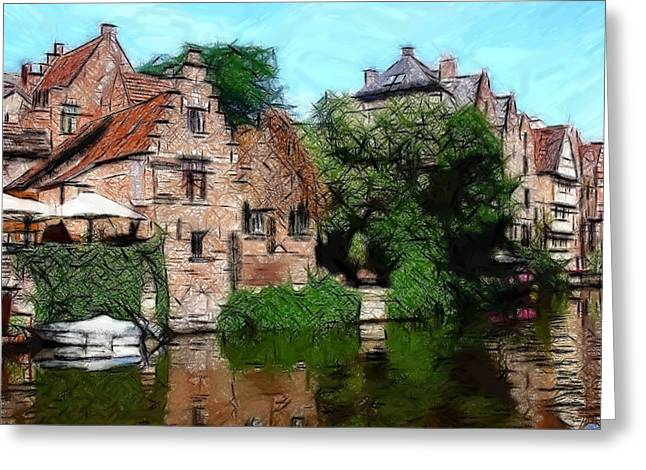 Urban Buildings Pastels Greeting Cards - Gent Greeting Card by Stefan Kuhn