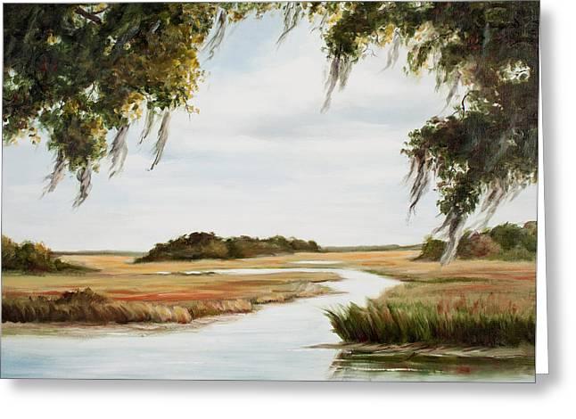 Marsh Scene Greeting Cards - Gentle Breeze Greeting Card by Glenda Cason