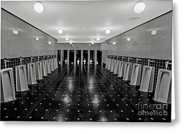 Urinal Greeting Cards - Gentlemen Only Greeting Card by Susan Candelario