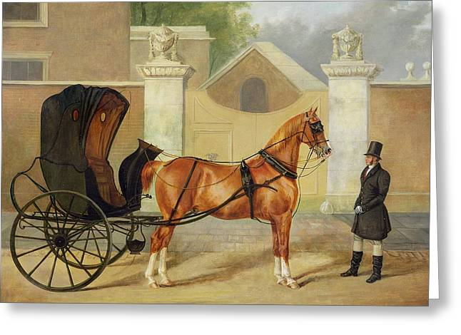 Hansom Greeting Cards - Gentlemens Carriages - A Cabriolet Greeting Card by Charles Hancock