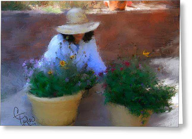 Yardwork Greeting Cards - Gently Does It Greeting Card by Colleen Taylor