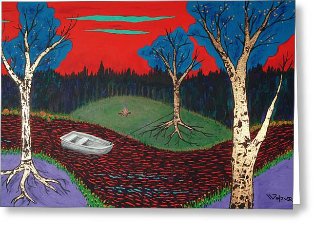 Red Greeting Cards - Gently Down The Stream Greeting Card by Randall Weidner