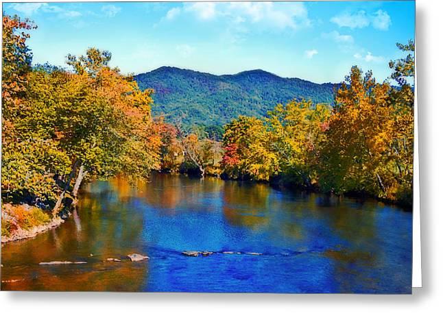 Susan Leggett Greeting Cards - Gently Flowing River Greeting Card by Susan Leggett