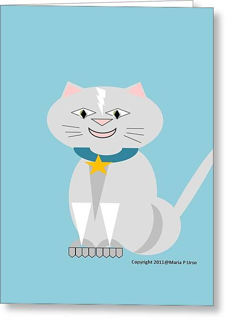 Geo Smiley Cat Greeting Card by Maria Urso
