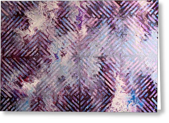 Beauty Tapestries - Textiles Greeting Cards - Geo-Spill Greeting Card by Austin Zucchini-Fowler