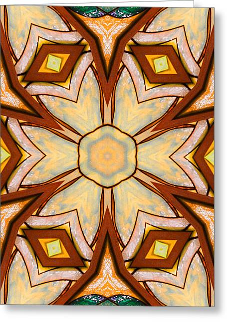 Patterned Ceramics Greeting Cards - Geometric Stained Glass Abstract Greeting Card by Linda Phelps