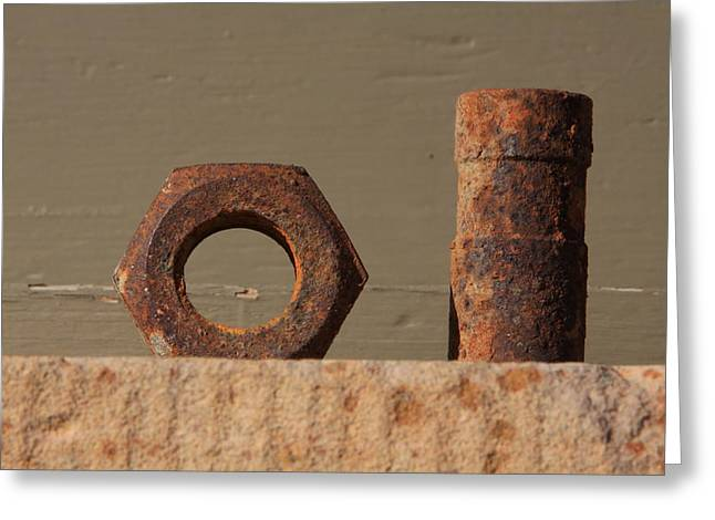 Geometry in Rust Greeting Card by Cynthia Cox Cottam