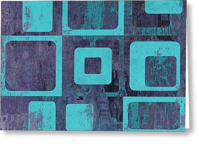 Turquoise Abstract Art Greeting Cards - Geomix 02 - sp06c6b Greeting Card by Variance Collections