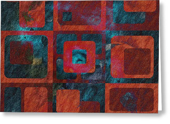Red Art Greeting Cards - Geomix 02 - sp07c03b Greeting Card by Variance Collections