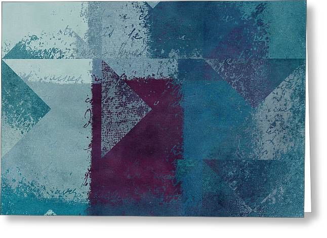 Texture Art Greeting Cards - Geomix 03 - s122bt2a Greeting Card by Variance Collections