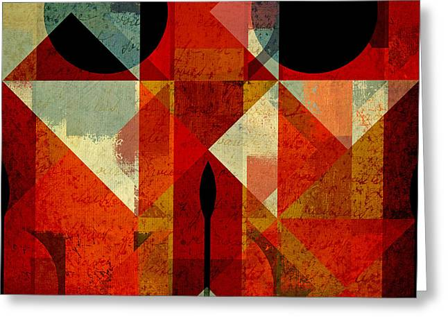 Red Art Greeting Cards - Geomix-04 - 39c3at22g Greeting Card by Variance Collections