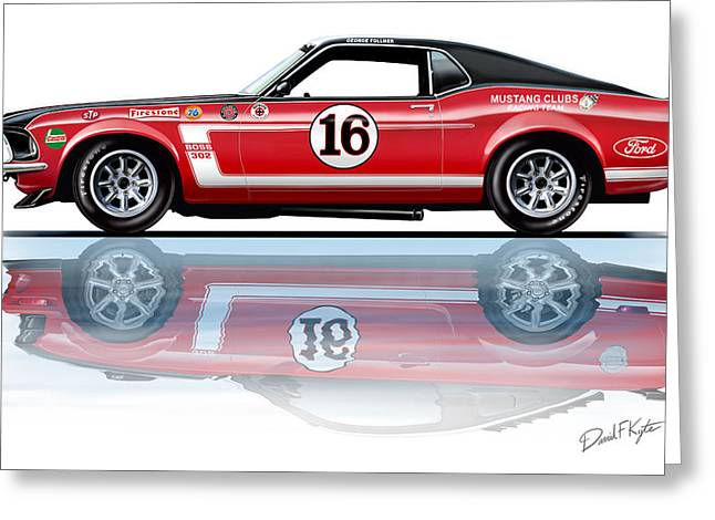 Geore Follmer Trans Am Mustang Greeting Card by David Kyte
