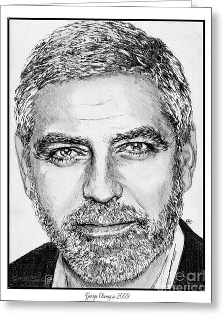 Award Greeting Cards - George Clooney in 2009 Greeting Card by J McCombie
