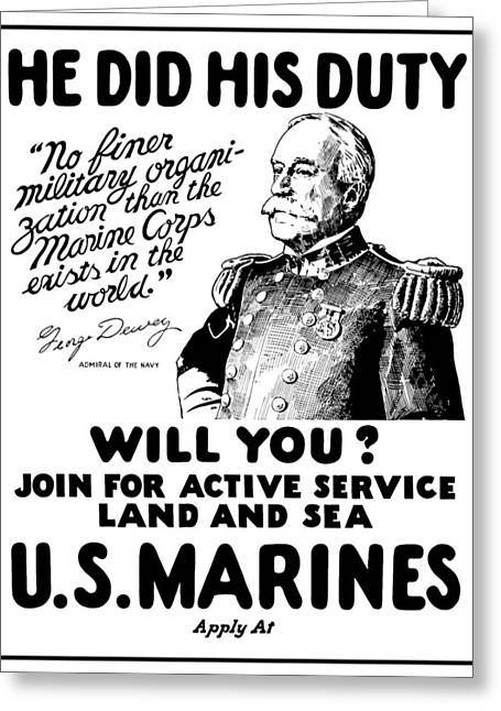 Admiral Greeting Cards - George Dewey US Marines Greeting Card by War Is Hell Store